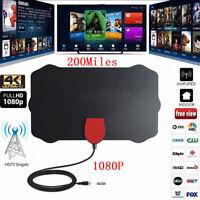 Antena de TV Digital Interior HDTV 1080P 4K Amplificador 200 millas Distancia