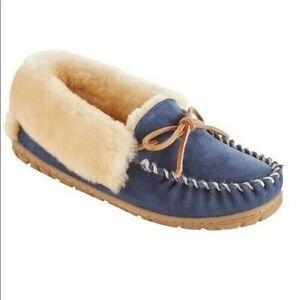 $79 LL BEAN Wicked Good Moccasin Slippers Sheepskin Shearling Blue Women Shoe 8*