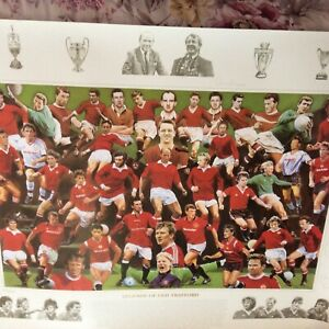 MANCHESTER UNITED - LEGENDS OF OLD TRAFFORD - SIGNED PRINT BY 27 ALEX FERGUSON