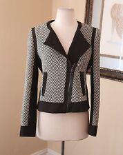 Ann Taylor Black White Chevron Moto Asymmetric Zip Jacket Size 6 Wool
