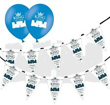 "Fathers Day Castle Bunting & 12"" Blue Asst Latex Balloons - Castle - pack of 5"