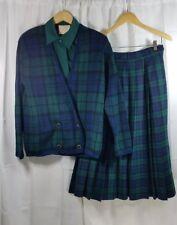 Pendleton Women Tartan Skirt Set Size 10 Plaid Black Watch Wool Pleated Cardigan