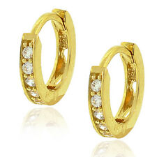 Sterling Silver Yellow Gold White Crystals CZ Womens Girls Hoop Huggie Earrings