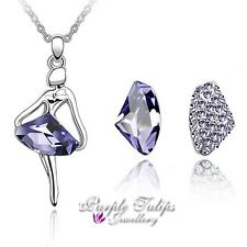 Lavender Made With SWAROVSKI  Ballerina Necklace&Earrings Set18CT White Gold GP