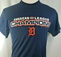 DETROIT TIGERS T Shirt sz M  American League Champs  MLB Cotton Navy B-94