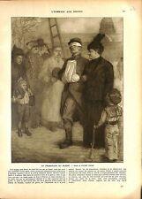 WWI Poilus Promenade Soldat Blessé Invalides Paris Lucien Jonas A ILLUSTRATION