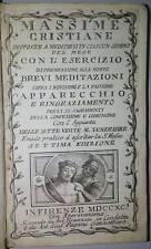 Settecentina- Massime cristiane brevi meditazioni 1790 libro antico religione