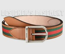 GUCCI 38-95 green/red WEB Beige Leather palladium LOGO buckle belt NWT Authentic