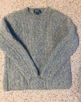 RALPH LAUREN hand Knit Grey Llama&wool Heavy Warm Pullover Womans Sweater EUC