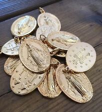 Vintage Religious Miraculous Virgin Mary Gilt 22k Plated Large Oval Medal NOS