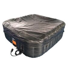 ALEKO Square Inflatable Hot Tub With Cover 6 Person 250 Gallon - Black and White