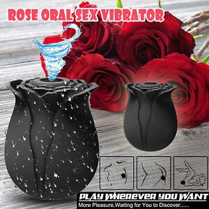 Waterproof Clit Pump Sucking Rose Vibrator Dildo Sucker Oral Sex Toy Women Black