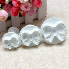 3Pcs Bow Knot Plunger Sugarcraft Cake Cookies Decorating Fondant Icing Cutter