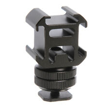 Triple Head Hot Cold Shoe Mount Adapter Bracket Flash Holder Converter Camera