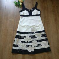 Kaliko white sleeveless floral stripe occasion evening dress size 14 a line