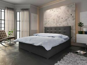 Boxspringbett Hotellbett Fado 1  140 160 180 x 200 Dunkelgrau Braun Bettkasten