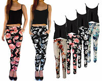 UK Ladies Floral Trousers Crepe Leggings 2 Piece Black Crop Top Summer Size 14