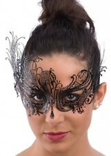 Luxury Black Swan Venetian Masquerade Mask Metal Filigree Diamante Crystal Prom