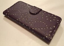 Apple Iphone 6 6S 4.7 leather cover wallet book case stand bling diamond purple