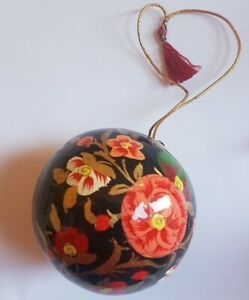 Papier-Mache Bauble Floral Ball Hanging Ornaments Hand-Decorated 3 Different