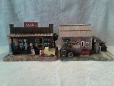 2 Coca Cola Villages Coca Cola Our Store & Johnny's Garage Gas Station Lighted
