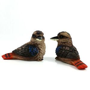 2pc Australia Realistic Kookaburra Bird Wildlife Ornament Statue Figurine Decor