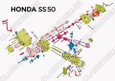 Honda SS 50 corte dibujo explosión dibujo motor póster cartel imagen ss50
