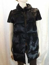 NWT PRADA BLACK BEAVER CUT FUR HOOKS CLOSURE PUFFER LONG JACKET VEST 40 4