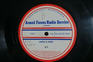 "V. RARE SEPT. 1944 AMOS & ANDY 16"" ARMED FORCES RADIO SERVICE TRANSCRIPTION DISC"