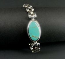 Taxco Turquoise Oval Stone Sterling 925 Silver Mexico Link Band Bracelet