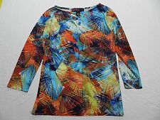 WOMENS colorful SHIRT TOP BLOUSE = PECK & PECK = SMALL = (gz30)