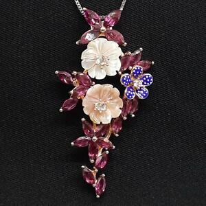 7.20ctw Mother of Pearl, Garnet & Diamond Cut Sapphire 14K Rose Gold 925 Pendant