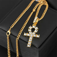 """26"""" Hip Hop Gold Plated Egypt Ankh Cross Key Pendant Necklace Chain Jewelry"""