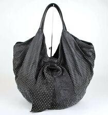 Valentino Black Leather Studded Large Hobo Shoulder Bag with Bow