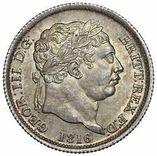 1816 SHILLING - GEORGE III BRITISH SILVER COIN - SUPERB