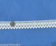 "Cluny Style Cotton Lace Trim WHITE Dolls/ Bears/ Quilts/ Decor NEW 1 1/4"" BTY"