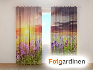 """Fotogardinen """"Sonnenuntergang"""" Vorhang 3D Fotodruck, Fotovorhang, Maßanfertigung"""
