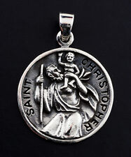 Medaille Pendentif Saint Christophe Argent massif 925 8g Talisman  K100 25423