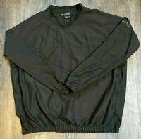 FootJoy Mens Windbreaker Size XL Golf Pullover Long Sleeve V-Neck Black