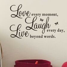 UK Vinyl Art Home Decal Wall Stickers Quote Live Every Moment Love Beyond Words