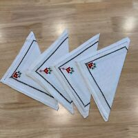 4 Vintage Cross Stitch Hand Embroidered Napkins White Red Green 8""