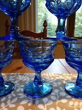 Set of 11 mint Condition Gorgeous Blue Vintage Midcentury Stemware