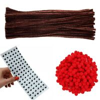392pcs Brown Pipe Cleaners x 100 Red Pom Poms 12mm x 100 10mm Googly Eyes x 192