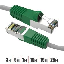 3-25FT Cat6 RJ45 Network Ethernet Shielded Crossover Cable Gray Wire Green Boot