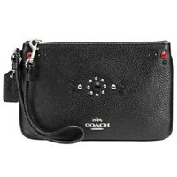 COACH Western Rivets Small Silver Zip Top Wristlet Black Pebbled Leather NWT