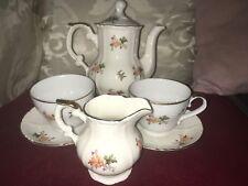 Ornate and Pretty Old Porcelain Tea Set Comprising Shaped Panelled Teapot,Milk +