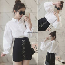 Korean Women White Lapel Bubble Sleeve Bottoming Button Down T Shirt Blouse Top