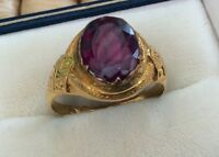 Fabulous Rare Early Victorian Solid 18ct Gold Almandine Garnet Solitaire Ring