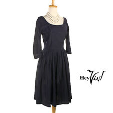 50s Navy Blue Evening Cocktail Dress - Vintage Fit & Flare Full Skirt - XS Small