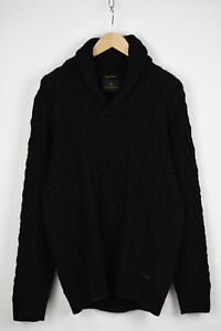 SCOTCH & SODA Men's ~LARGE* Thick Acrylic Cable Knitted Shawl Sweater 32344-JS